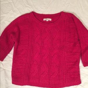 LOFT sweater cable knit cotton/wool